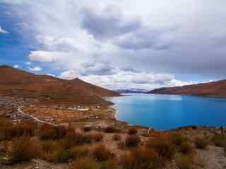 西藏拉萨圣湖羊卓雍错桌面壁纸