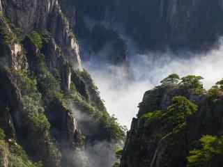 仙气缭绕的黄山悬