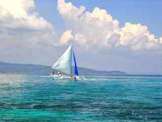 小清新长滩岛帆船风景壁纸