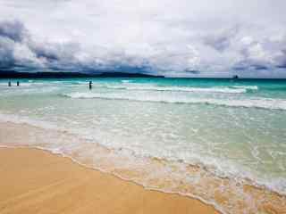 小清新长滩岛沙滩海浪风景壁纸