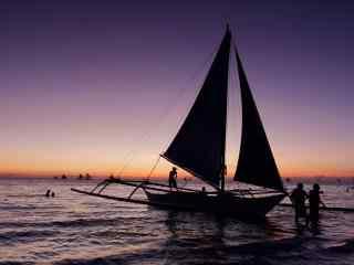 长滩岛之夕阳风景壁纸