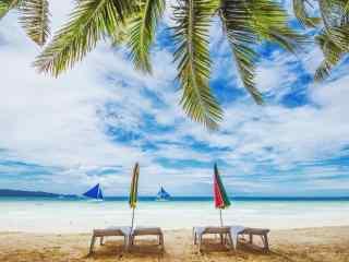 长滩岛阳光沙滩清新风景壁纸