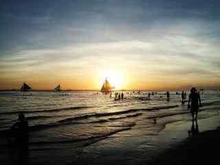 夕阳下的长滩岛风景壁纸