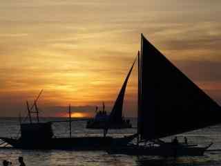 唯美夕阳下的长滩岛风景壁纸