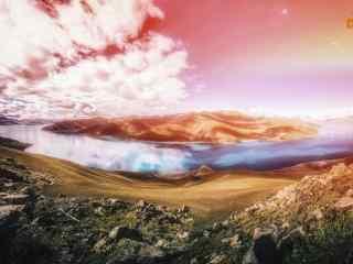 火红烈日下的羊卓雍措河流桌面壁纸