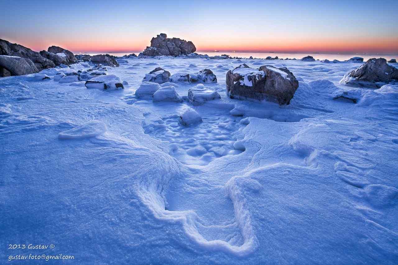 大雪覆盖在了北戴河沙滩桌面壁纸