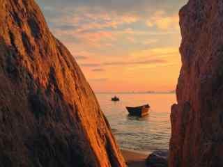 落日彩霞下的北戴