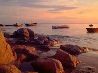 夕阳下的北戴河海