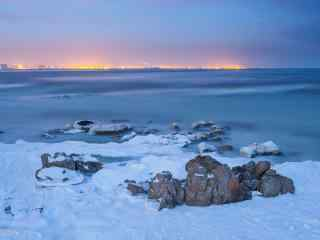 冬日北戴河大雪覆
