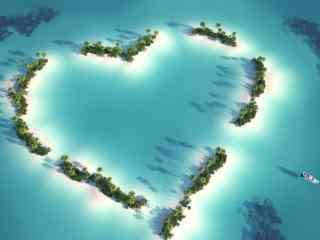 蓝色海岛爱心桌面