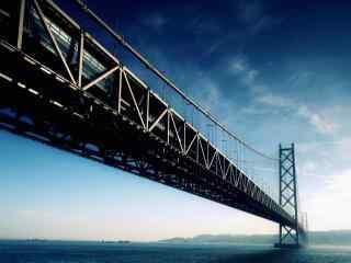 蓝色主题大桥桌面