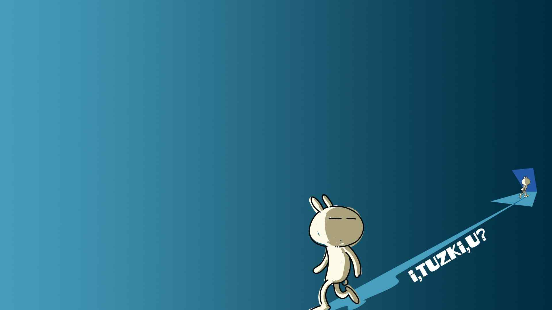 蓝色主题兔斯基电脑桌面壁纸