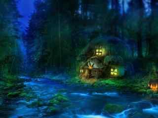 蓝色梦幻小屋桌面