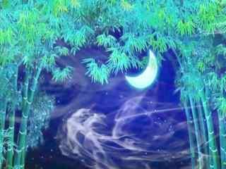 唯美的竹林夜景高