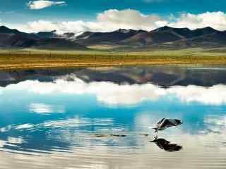 蓝色湖水自然风景
