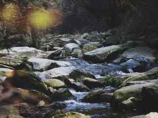唯美日系小清新庐山山涧瀑布桌面壁纸