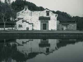 黑白水墨色乌镇古镇风景壁纸
