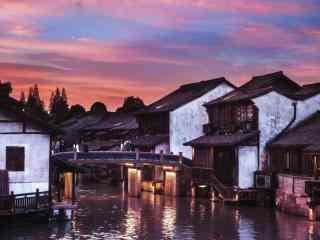 夕阳下的乌镇古镇风景壁纸