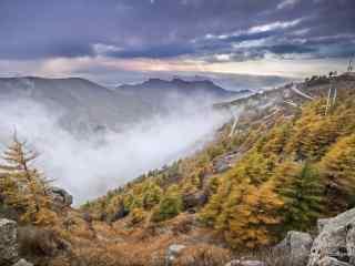 雾灵山秋天雾景桌面壁纸