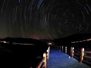 泸沽湖走婚桥上的星空壁纸