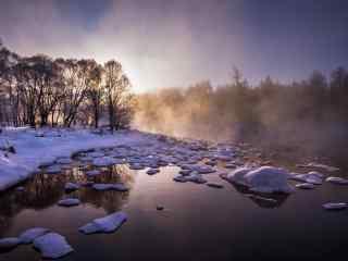 冬日唯美的黑龙江河流桌面壁纸