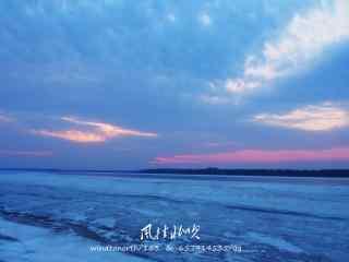 唯美彩霞下的黑龙江大雪桌面壁纸