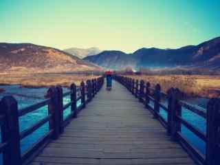 唯美的泸沽湖走婚桥风景壁纸