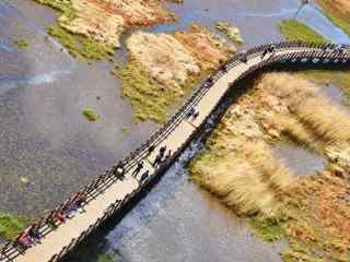 泸沽湖走婚桥鸟瞰图