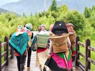 泸沽湖走婚桥上的姑娘桌面壁纸