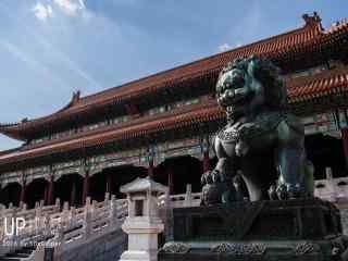 故宫里面威严的石狮桌面壁纸