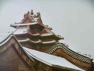故宫房檐上厚厚的积雪桌面壁纸