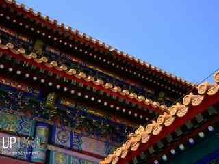 唯美好看的故宫屋檐上的廊檐桌面壁纸