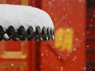 故宫唯美大雪纷飞的雪景桌面壁纸