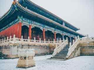 大雪覆盖在故宫城楼上桌面壁纸
