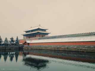 故宫城墙外的护城河桌面壁纸