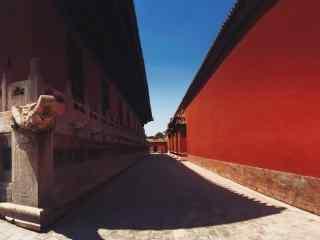 故宫里面长长的红墙走廊桌面壁纸