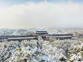 唯美好看的故宫雪景桌面壁纸
