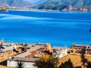 泸沽湖唯美风景桌