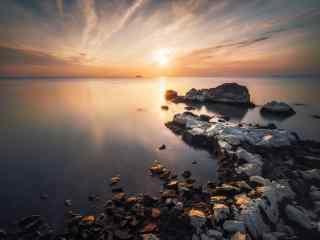 唯美的巢湖日落风景壁纸