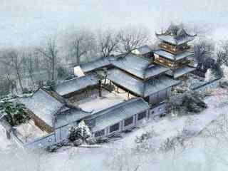 手绘古风场景之雪景壁纸