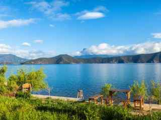 蓝色泸沽湖风景桌