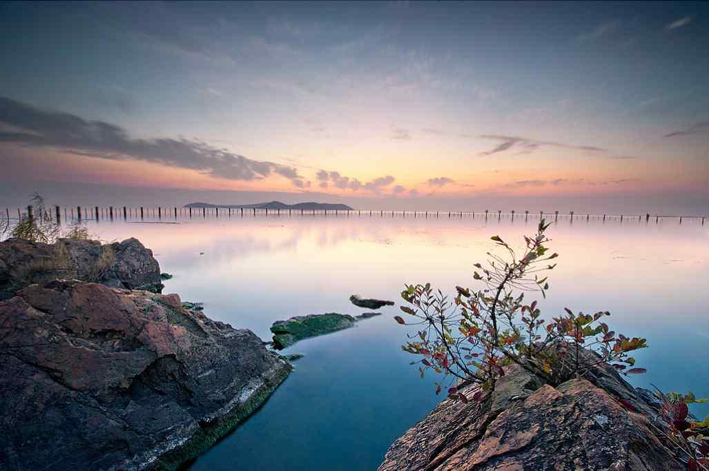 唯美的太湖日出风景图片