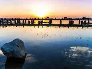 黄昏时美丽的太湖风景壁纸