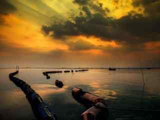 黄昏时分的太湖风景桌面壁纸