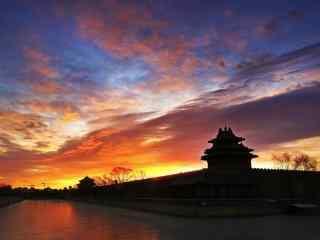 北京故宫角楼晚霞风景壁纸