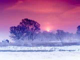 夕阳下的吉林雾凇桌面壁纸