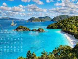 2017年7月日历唯美的海岛风景壁纸