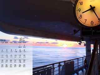 2017年7月日历海上日落风景壁纸