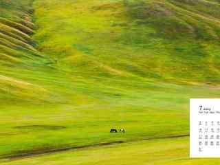 2017年7月日历唯美大草原风景壁纸