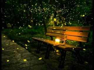 夏日夜晚萤火虫飞舞风景桌面壁纸
